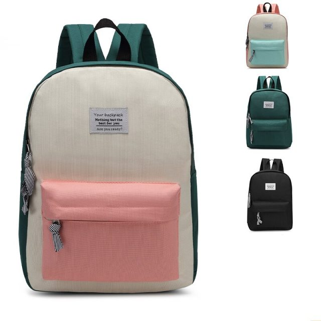 Backpack Women Fashion Shoulderbags Solid Color Patchwork Sweet Girl Street School Bags Backpacks Zipper Design Casual Bags