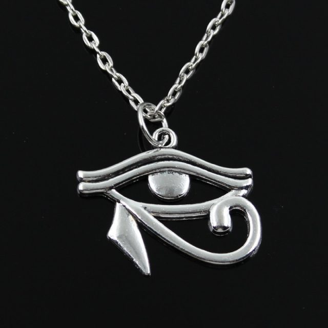 new fashion ancient egypt eye of Horus Pendants round cross chain short long Mens Womens silver color  necklace Jewelry Gift