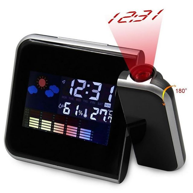 LED Digital Projection Alarm Clock Temperature Thermometer Desk Time Date Display Projector USB Led Desktop Charger Clock