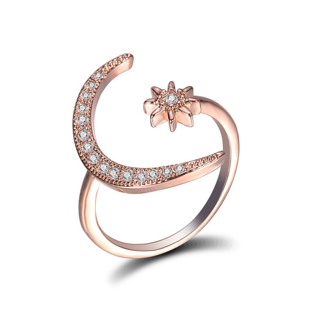 2020 Boho Female Open Star Moon Rings For Women  Rose Gold Color Filled Cute White Crystal Ring Staking Minimalist Jewelry