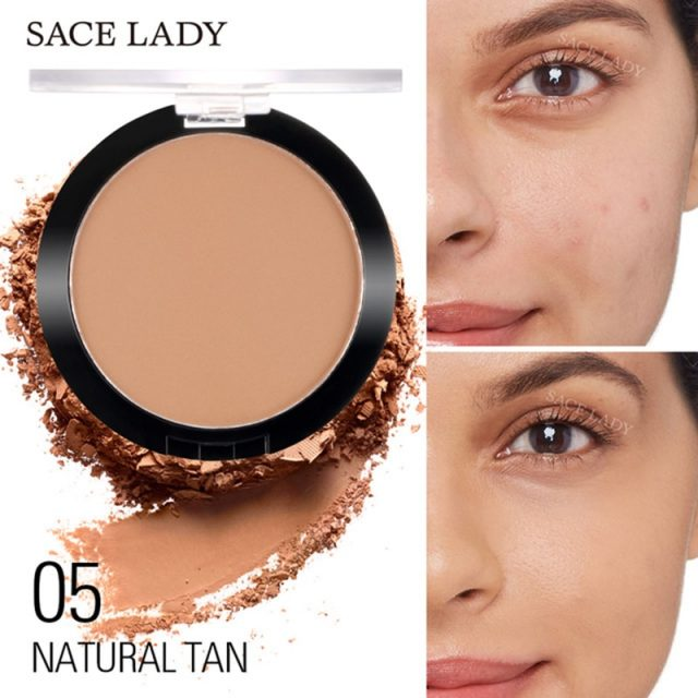 Natural Lasting  Matt Pressed Face Powder Foundation Lightweight Oil-control Compact Cosmetic Loose Powder Makeup Tool  TSLM1