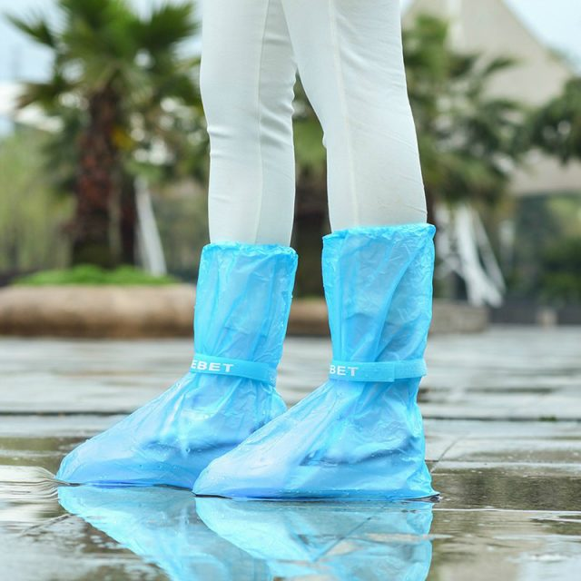 1Pair Waterproof  Reusable Thicken Protector  High-Top Anti-Slip Shoes Boot Cover Unisex Ribbon Rain Shoe Covers Rain
