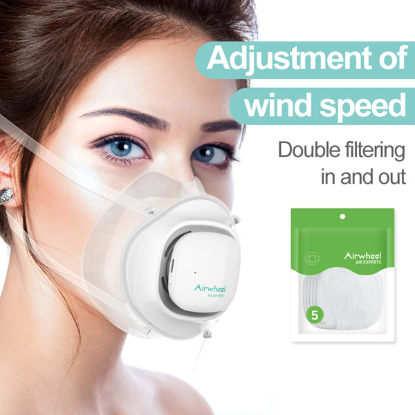 Airwheel Air Experts F3 Smart Respirator Fresh Air Silicone Mask with a 5-layer Filter Technology with In & Out Dual Protection and APP Smart Reminder for the New Normal
