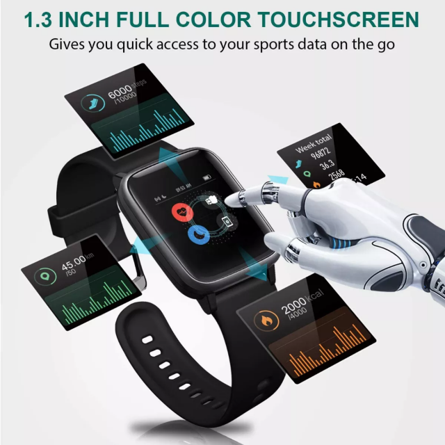 Letsfit Smart Watch ID205L, Fitness Tracker with Heart Rate Monitor, Activity Tracker with 1.3 Inch Touch Screen, IP68 Waterproof Pedometer Smartwatch with Sleep Monitor, Step Counter for Women and Men