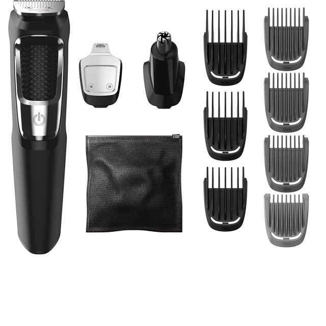 Philips Norelco MG3750 Multi-groom All-In-One Series 3000, 13 attachment trimmer for beard, facial hair, nose hair, ear hair trimmer and hair clipper
