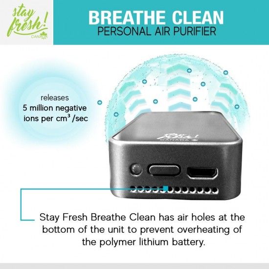 Stay Fresh Canada Breathe Clean Rechargeable Portable Air Purifier with Healthy Negative Ions