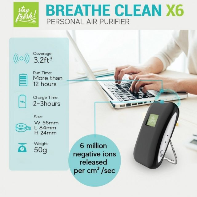 Stayfresh! Canada Breathe Clean Rechargeable Portable Personal Air Purifier (X6) with Healthy Negative Ions