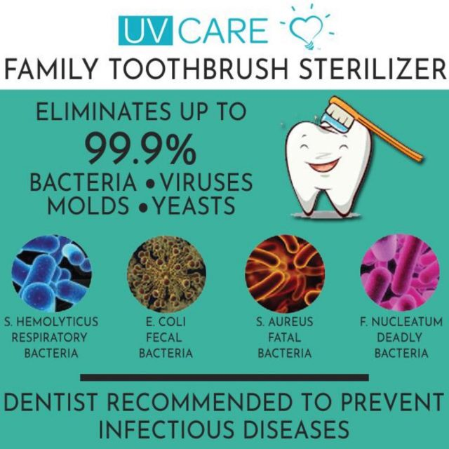 UV Care Family Toothbrush Sterilizer with UVC Germicidal Light for Disinfection, Sanitation, Sterilization and Termination of Germs, Viruses, Molds, and Bacteria