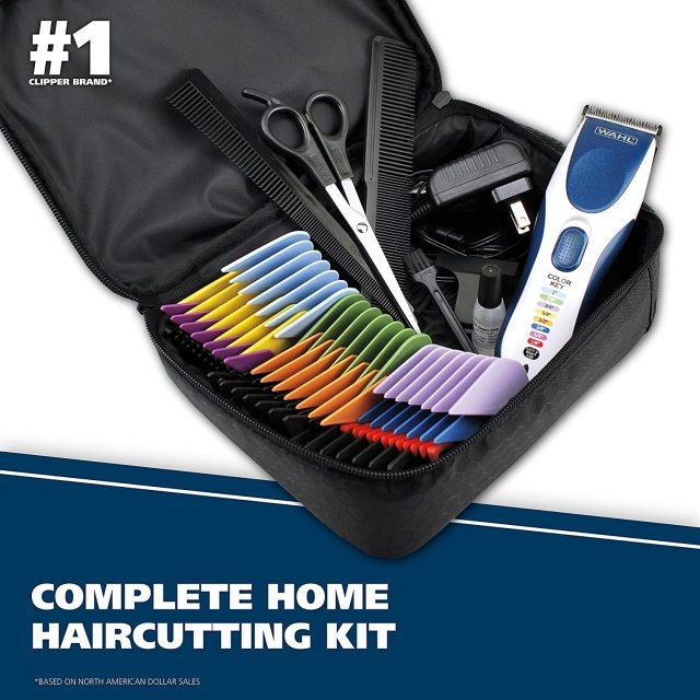 Wahl Color Pro Cordless Rechargeable Hair Clipper & Trimmer Model 9649 Easy Color-Coded Guide Combs – for Men, Women, Children and Pets Grooming