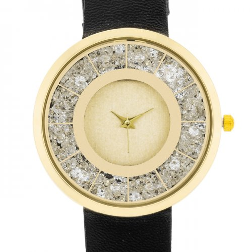 Icon Bijoux Gold Black Leather Watch With Crystals For Any Occasion