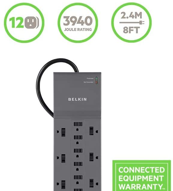 Belkin 12-Outlet Power Strip, Surge Protector, Extension Cord, 8ft Long Cord, Office Equipment and Home Use , Heavy Duty (3,940 Joules), Gray