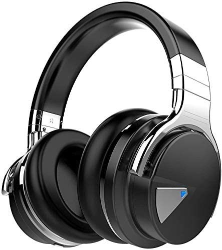 COWIN E7 Active Noise Cancelling Headphones Bluetooth Headphones with Microphone Deep Bass Wireless Headphones Over Ear, Comfortable Protein Earpads, 30 Hours Playtime for Travel/Work/Leisure, Black