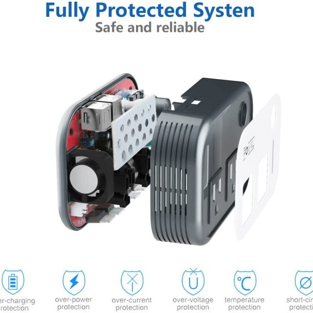 Foval 200W Car Power Inverter Adapter DC 12V to 110V AC Converter with 4 USB Ports Charger