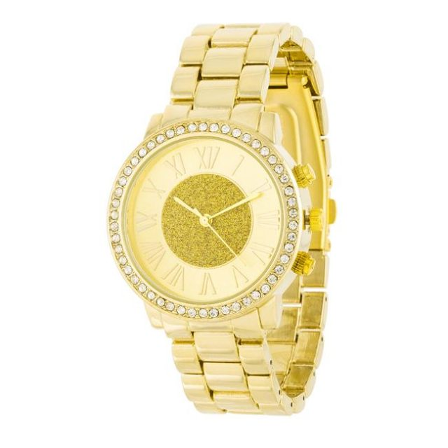 Icon Bijoux Roman Numeral Goldtone Watch With Crystals For Any Occasion