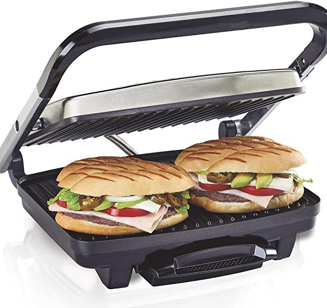 Hamilton Beach Electric Panini Press Grill With Locking Lid, Opens 180 Degrees For Any Sandwich Thickness, Nonstick 8″ X 10″ Grids, Colors Red, Stainless Steel and Chrome Finish