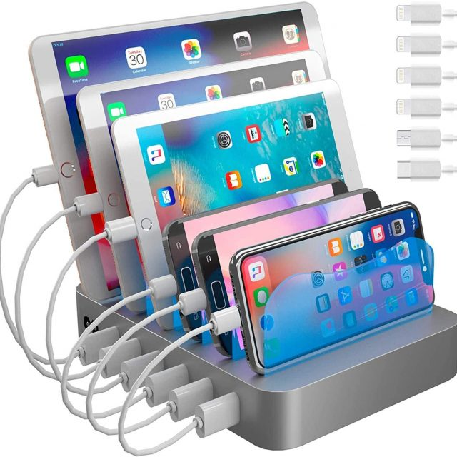 Hercules Tuff Charging Station for Multiple Devices, with 6 USB Fast Ports and 6 Short Mixed USB Cables Included for Cell Phones, Smart Phones, Tablets, and Other Electronics