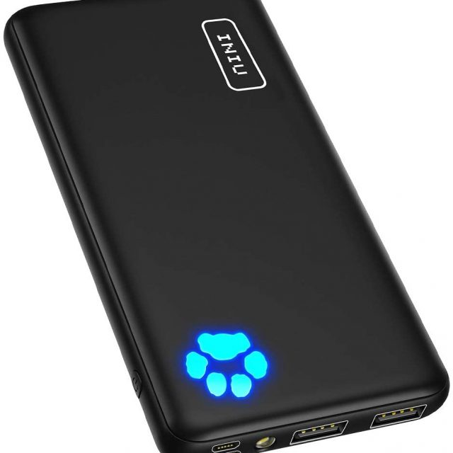 INIU Portable Compact Slimmest & Lightest Charger, Power bank, Battery Pack with Triple 3A High-Speed 10000mAh Capacity, with Flashlight, Compatible with Smart Phones, Ipads, Smart Tablets, Android Devices, IOS devices and More