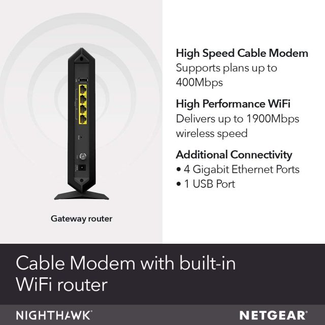 NETGEAR Nighthawk Cable Modem Wi-Fi Router Combo C7000 Compatible with Cable Providers Including Xfinity by Comcast, Spectrum, Cox for Cable Plans Up to 400 Mbps | AC1900 Wi-Fi Speed | DOCSIS 3.0