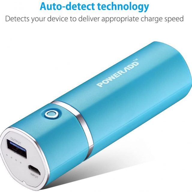 POWERADD Slim 2 5000mAh External Battery 2.1 A Output Most Compact, Portable & Efficient Smart Charger Power bank for Android and IOS devices and More