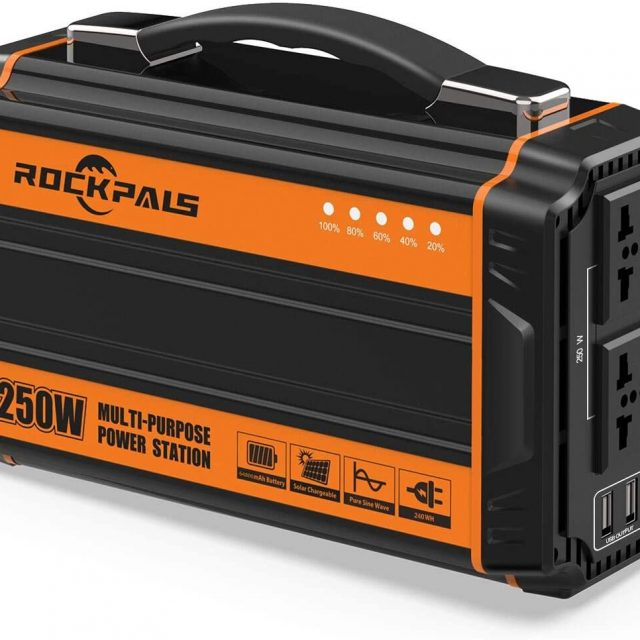 Rockpals 250-Watt Portable Generator Charger Adapter Rechargeable Lithium Battery Pack Solar Generator with 110V AC Outlet, 12V Car, USB Output Off-grid Power Supply for Backup Camping Emergency