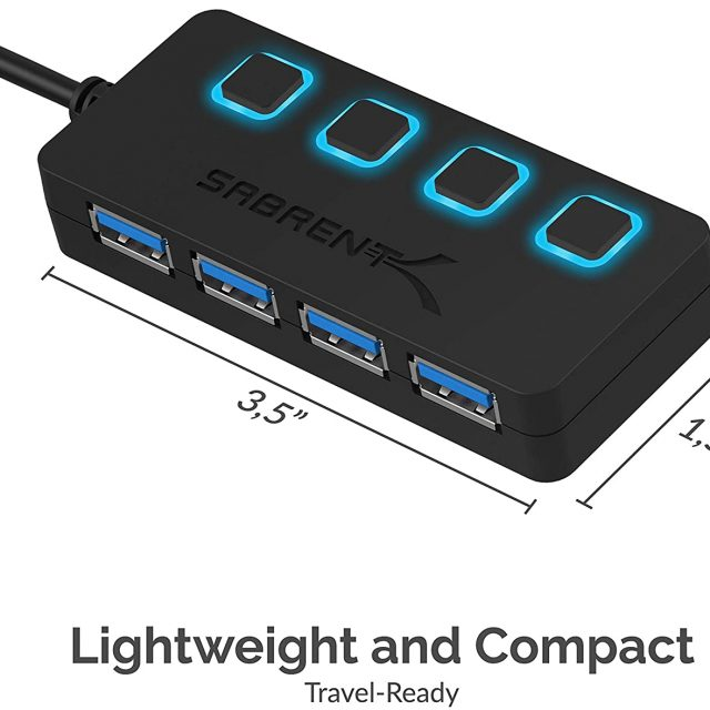 Sabrent 4-Port USB 3.0 Hub with Individual LED Power Switches   2 Ft Cable   Slim & Portable   for Mac & PC (HB-UM43)