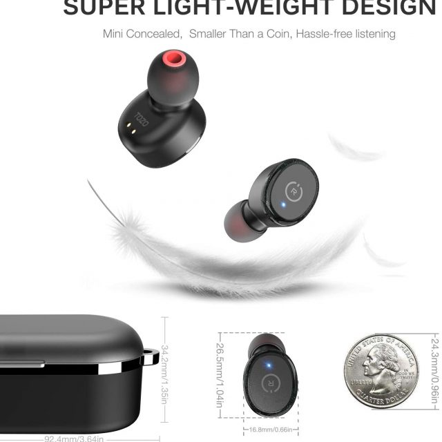 TOZO T10 Bluetooth 5.0 Wireless Earbuds with Wireless Charging Case IPX8 Waterproof TWS Stereo Headphones in Ear Built in Mic with Noise Reduction Headset Premium Sound with Deep Bass for Sport and Leisure All Colors