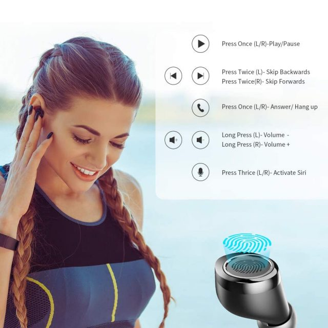 Vankyo X200 True Wireless Earbuds Bluetooth 5.0 In-Ear TWS Stereo Headphones with Smart LED Display Charging Case IPX8 Waterproof 120H Playtime Built-in Mic with Deep Bass for Sports, Fitness, Work, Leisure