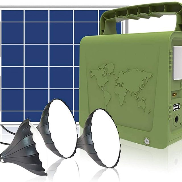 WAWUI Portable Power Station, Solar Generator with Solar Panel & Flashlights for Home Emergency Backup Power, Camping Lights with Battery, USB DC Outlets, best for Travelling, Camping and Emergency Backup at Home and Offices (42Wh)