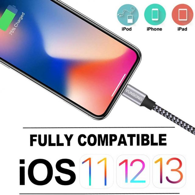 Yunsong 3-Pack 6 feet Nylon Braided Lightning Cable Charging Cord USB Cable Compatible with iPhone 11 Pro Max XS XR X 8 7 6S 6 Plus SE 5S / Iphone Cable Charger