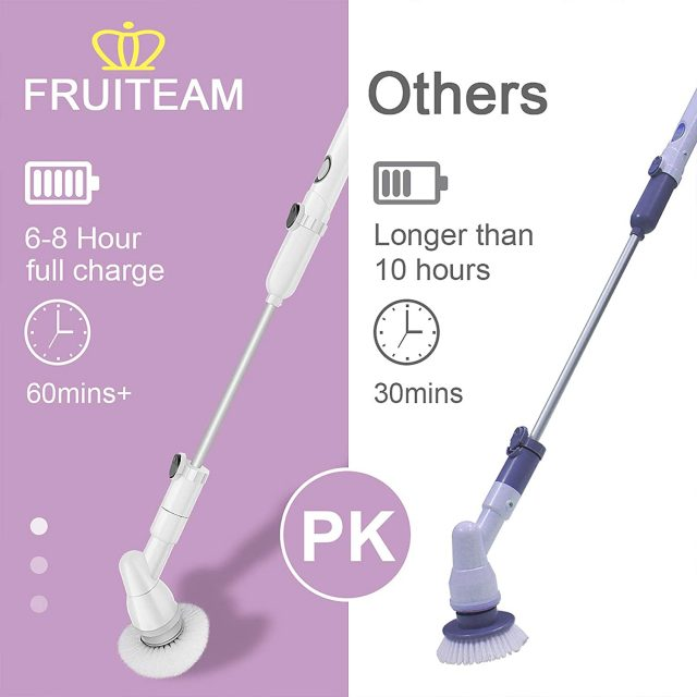 FRUITEAM Electric Cordless Super Power Spin Scrubber, Surface Power Cleaner with 3 Replaceable Brush Heads and 1 Extension Arm for Bathroom/Kitchen/Tub/Tile
