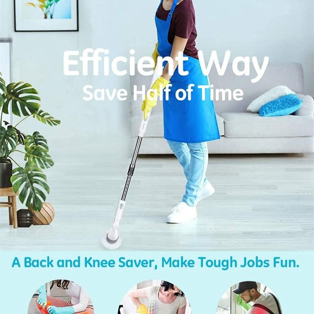 Homitt Electric Spin Scrubber Cordless Power Floor and Shower Brush Scrubber with an Adjustable Extension Arm and 3 Replaceable Bathroom Scrubber Cleaning Brush Heads for Tubs, Tiles and Floor