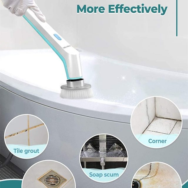 Homitt Electric Spin Scrubber Power Brush Scrubber, Cordless, Portable, Rechargeable and Handheld Bathroom Scrubber with 3 Replaceable Cleaning Brush Heads, High Rotation for Cleaning Floor, Sink, Tile and Tub – Blue