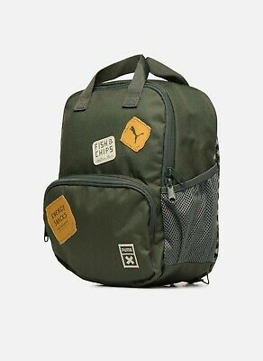 Puma x Tiny Cotton Backpack Bag Fish and Chips Design Olive Green Junior Size for Kids