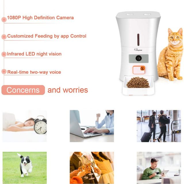 SKYMEE 8L Smart Wi-Fi Pet Feeder Automatic Food Dispenser for Cats & Dogs with Camera 1080P Full HD Pet Treat Dispenser with Night Vision Camera and 2-Way Audio, Wi-Fi Enabled App for iPhone and Android