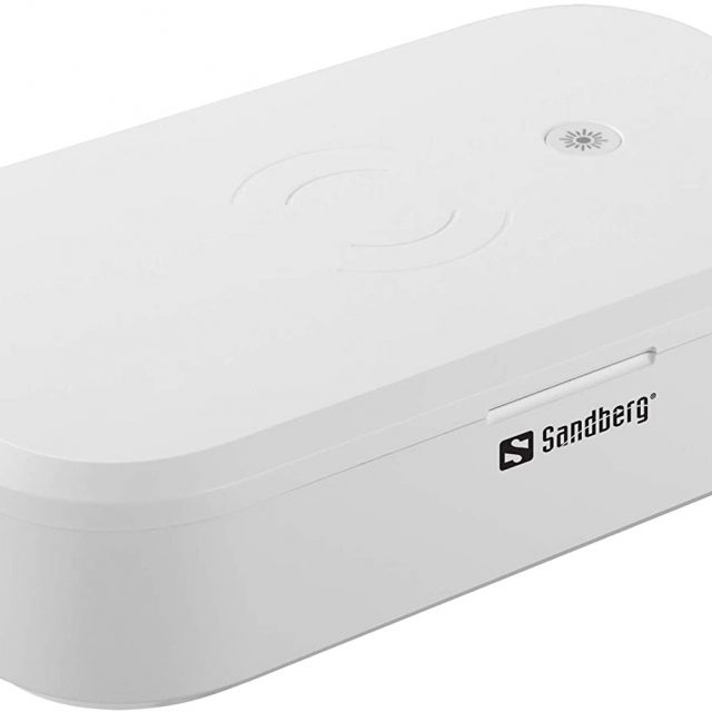 Sandberg (470-31) USB UV Sterilizer Rechargeable with Built-in 10W Qi Compatible Wireless Charger, 360° UV Disinfection, Kills up to 99% Bacteria/Viruses