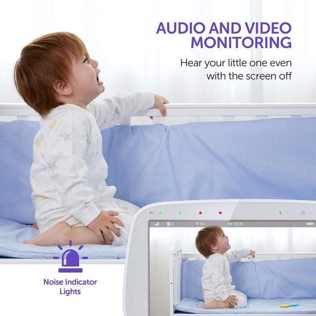VAVA Baby Monitor 720P HD 5″ Screen Display Video Baby Monitor with Camera and Audio, IPS Screen, 900ft Range, 4500 mAh Battery, Two-Way Audio, One-Click Zoom, Night Vision and Thermal Monitor for Safety and Security