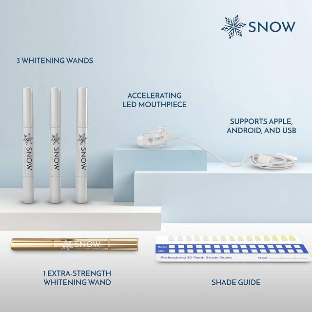 SNOW Teeth Whitening Kit with LED Light | Complete at Home Whitening System – Best Results – Safe for Sensitive Teeth, Braces, Bridges, Crowns, Caps & Veneers