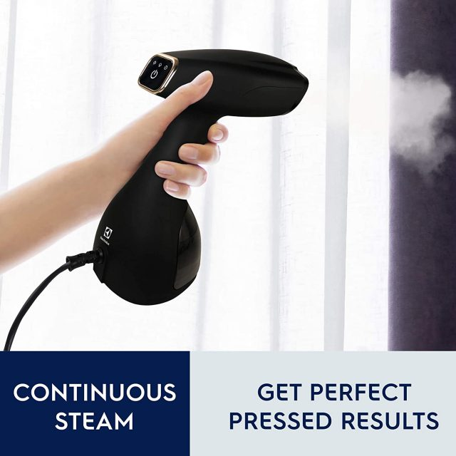 Electrolux Portable Handheld Garment and Fabric Steamer and Surface Steamer Sanitizer 1500 Watts, Rapid Heating Ceramic Sole Plate Steam Nozzle, 2 in 1 Fabric Wrinkle Remover and Clothing Iron, with Fabric Brush and Lint Brush