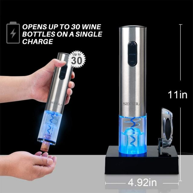 Secura Electric Wine Opener, Automatic Electric Wine Bottle Corkscrew Opener with Foil Cutter, Rechargeable (Stainless Steel)
